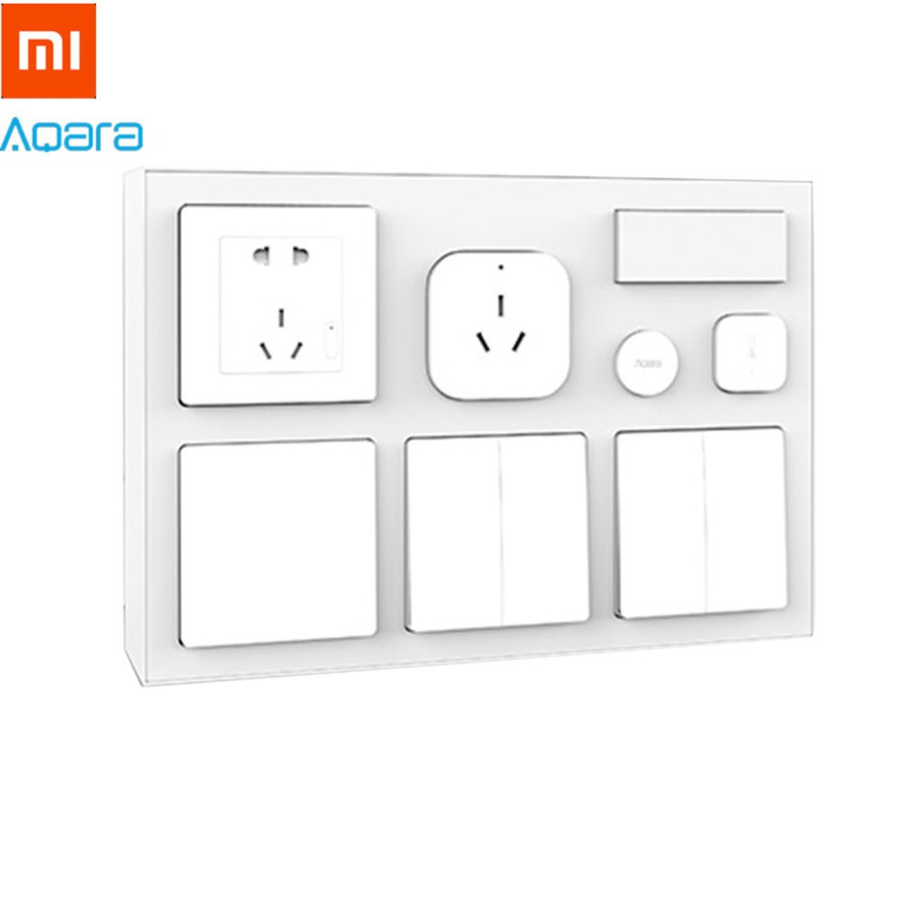 Xiaomi Aqara Smart Bedroom Kit Air Conditioner Mate Temperature and Humidity Sensor Body Sensor Wall Socket Wall Switch 2pcs Wir xiaomi aqara mijia smart home temperature control set air conditioner controller temperature humidity sensor wireless switch