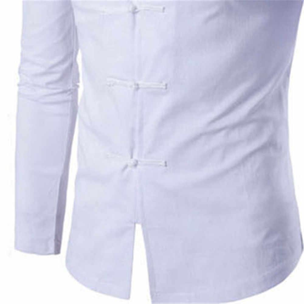 中国チュニックスーツ紳士摩耗クラシックソリッドブラック白唐スーツファッションスタンド襟スリム男性シャツビジネスカジュアルスタイル