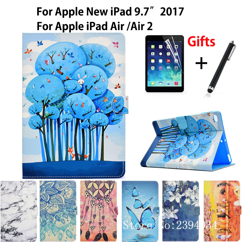 """Fashion Case For Apple iPad 9.7"""" 2017 2018 5th 6th Generation A1822 A1893 Smart Cover For iPad Air 1 Air 2 Stand Shell +Film+Pen"""