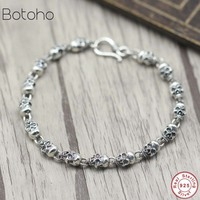 Men's Bracelet 925 Sterling Silver Retro Skull Friendship Bangle Bracelet Christmas Gift Fashion Jewelry silver skull bracelet