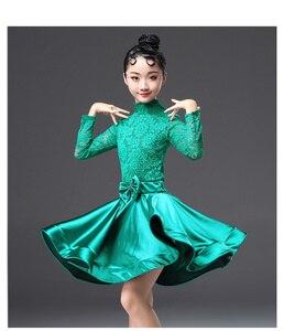 Image 4 - Robe en dentelle pour filles, bal, danse latine, à manches longues, Cha Cha, Rumba, jimba, Jive, pour enfants et adolescentes