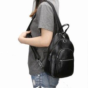 Image 3 - ファッション女性バックパック本革バッグ女の子胸パックスクールバッグ用ティーンエイジャーレディー女性旅行バッグ多機能