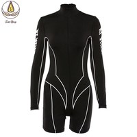 One Piece Women Sport Clothing Fitting Jumpsuit Long Sleeve Yoga Set Solid Workout Suit Breathable Running Shots Fitness Pants