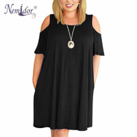 Nemidor Women Casual O Neck Off The Shoulder Midi Plus Size Summer Dress Short Sleeve Beach