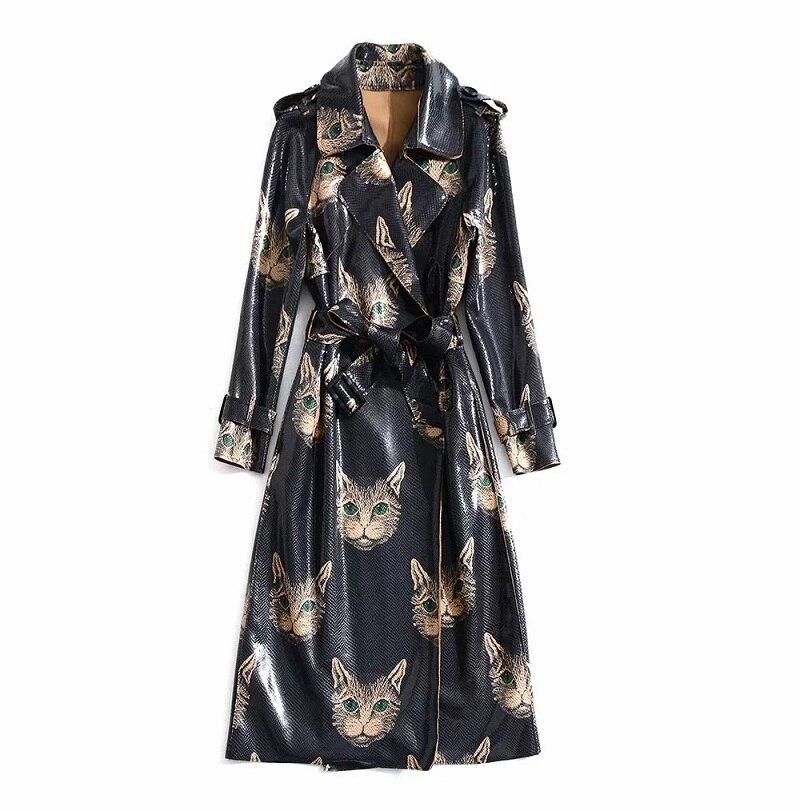 En Qualité Trench Manteau Mignon Casual Cuir Nouvelle Pardessus Long Réglable Femmes Haute Chat Mode Ceinture Pu 2018 De Impression HqYYd