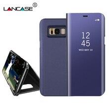 Зеркало чехол для Samsung Galaxy S8 кожаный чехол флип покрытие Smart Вид из окна стенд жесткий PC shell Coque для Samsung S8 Plus