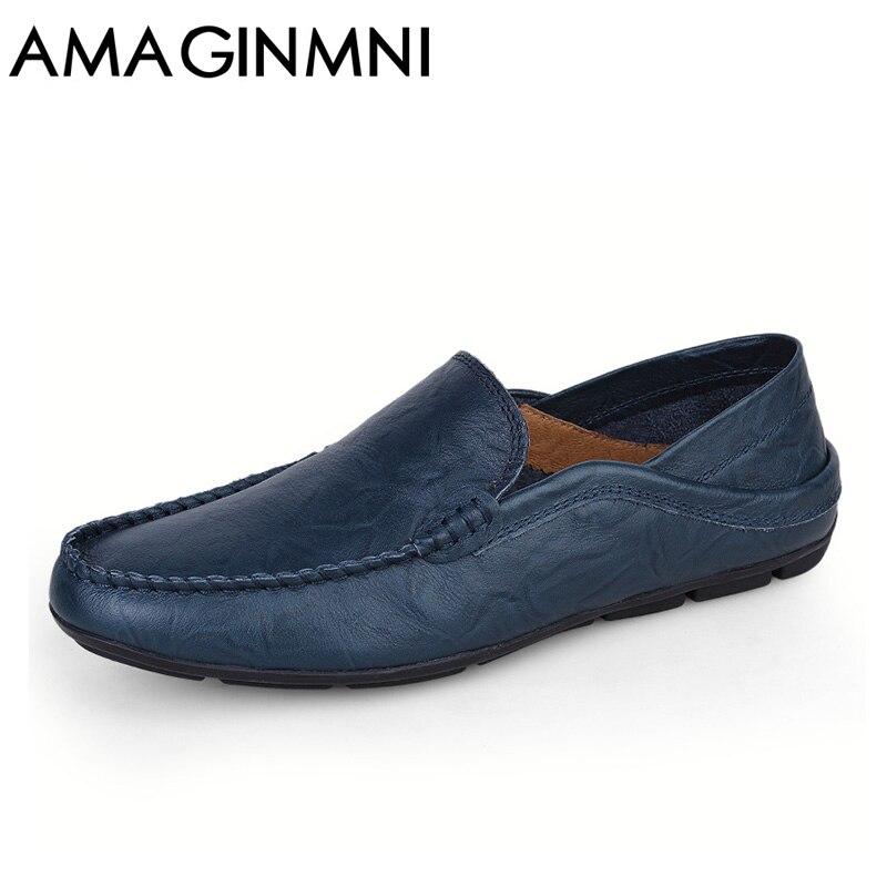 AMAGINMNI tamaño grande 35-47 slip on casual hombres mocasines primavera y otoño hombres mocasines zapatos de cuero genuino hombres zapatos planos nuevo