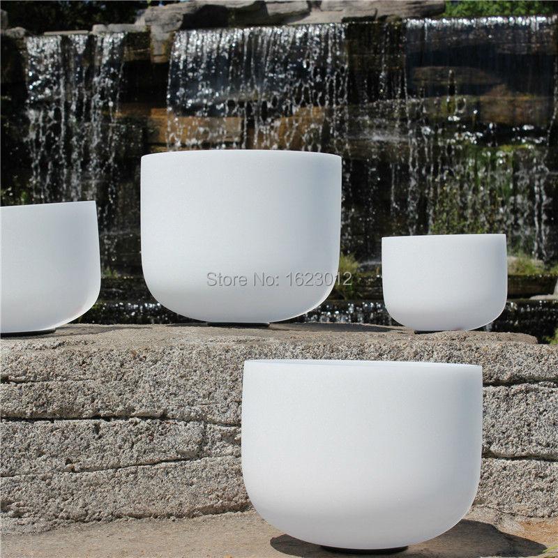 12 Inch B Frosted Chakra Quartz Crystal Singing Bowl 7 inch and 9 inch 2pcs frosted crystal singing bowls