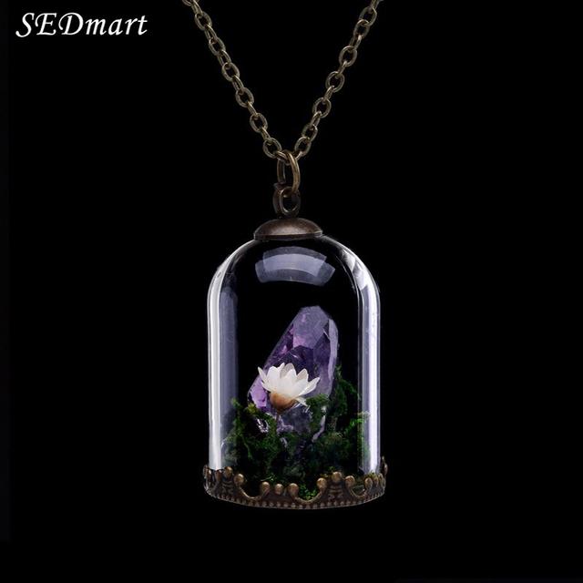 SEDmart Handmade Flores Secas Vidro Terrário Medalhão Raw Ametista Citrino Crystal Healing Pedra Natural Colar de Pingente de Mulheres