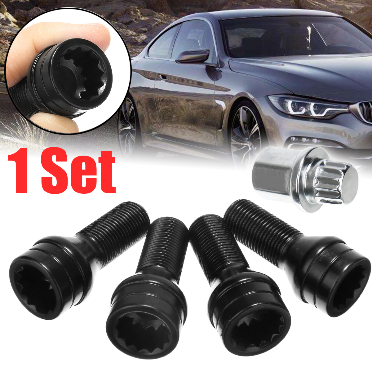 5pcs/set Black Wheel Lock Set Black Lug Bolts M14x1.25 For BMW F-Models 36136776076 6776076