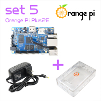 Orange Pi Plus 2E SET5: Pi Plus 2E + Power Supply +Transparent ABS  Case  Support Ubuntu, Debian