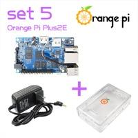 Wholesale Orange Pi Plus 2E SET5: Pi Plus 2E + Power Supply +Transparent ABS Case Support Ubuntu, Debian Beyond Raspberry
