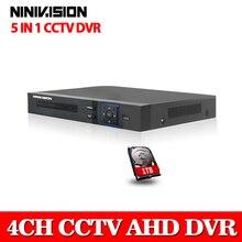 4 Channel AHD DVR AHDNH 1080P/1080N/960P/720P/960H Security CCTV DVR 4CH Mini Hybrid HDMI DVR Support IP/Analog/AHD Camera