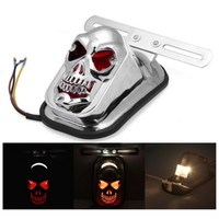 12V 20W Harley Motorcycle Accessories Motos Motorbike Plating Skull Brake Lights Taillight