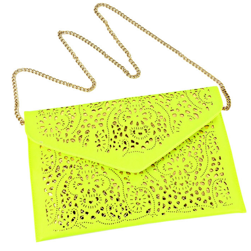 Colorful Vintage Hollow Out PU Leather Envelope Clutches Metal Chain Purse Lady Handbag for Women Shoulder Crossbdoy Clutch BagColorful Vintage Hollow Out PU Leather Envelope Clutches Metal Chain Purse Lady Handbag for Women Shoulder Crossbdoy Clutch Bag