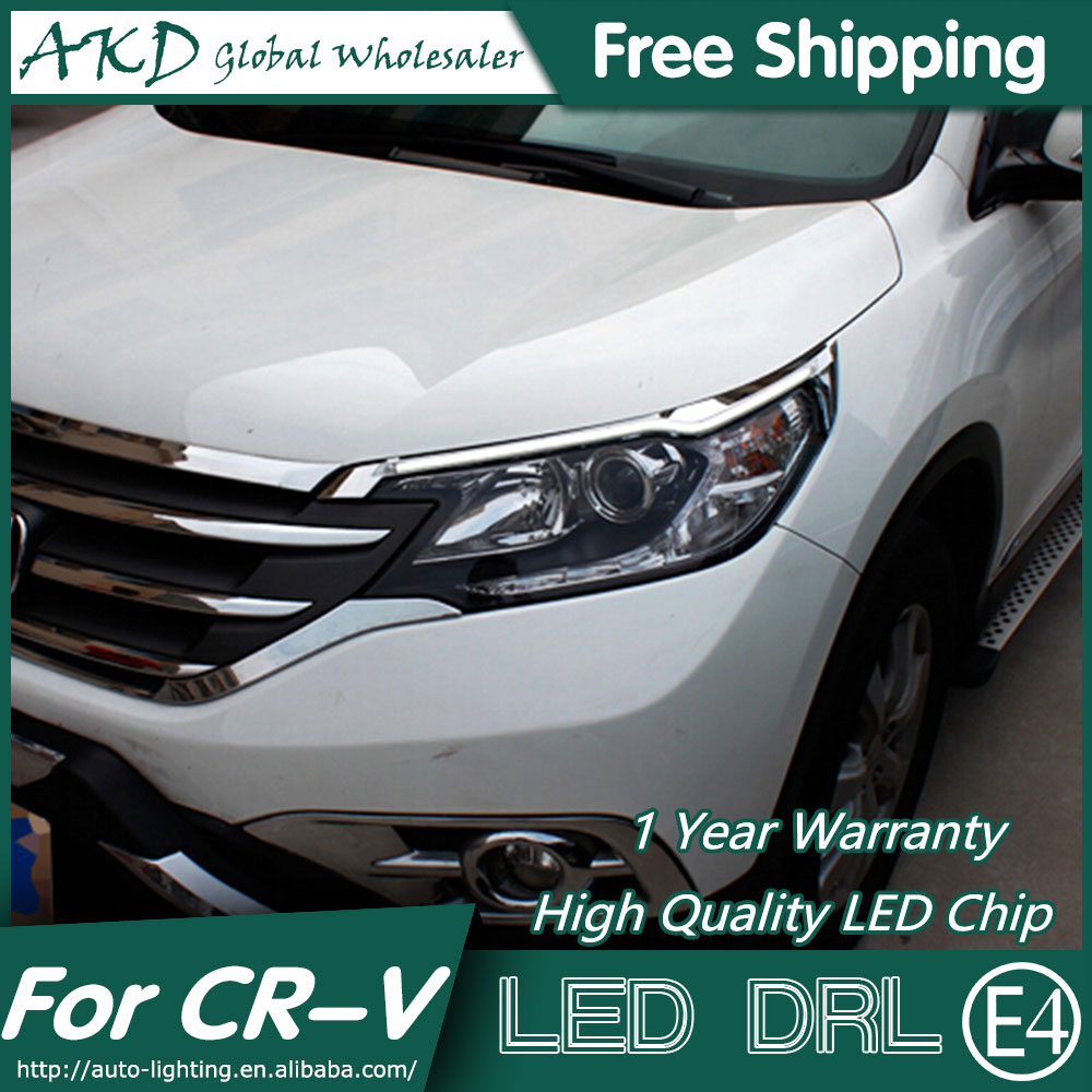 AKD Car Styling LED DRL for CR-V 2012-2015 New CRV Eye Brow Light LED External Lamp Signal Parking Accessories akd car styling led drl for kia k2 2012 2014 new rio eye brow light led external lamp signal parking accessories