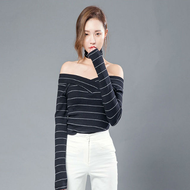 cd1a34dd4eaff8 Cut out tops off shoulder striped t shirts cross in front sexy tee shirts  womens long sleeve tshirt black woman clothes WH256
