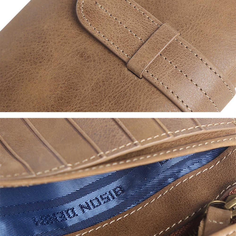BISON джинсовый кожаный кошелек-клатч, винтажные кошельки для карт, мужские и женские портмоне для монет, мужской бумажник Carteira W4401