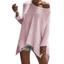 дешево!  Женский свитер 2019 новый европейский и американский сплит свитера вокруг шеи свободные летучая мышь