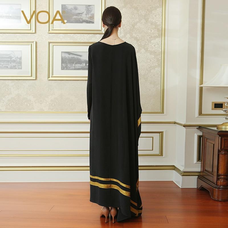 Image 2 - VOA noir grande taille Robe irrégulière en soie brève décontracté  femmes Maxi robes longues musulman Abaya arabe islamique dubaï  ALJ02001autumn fashionmaxi long dressfashion long dress