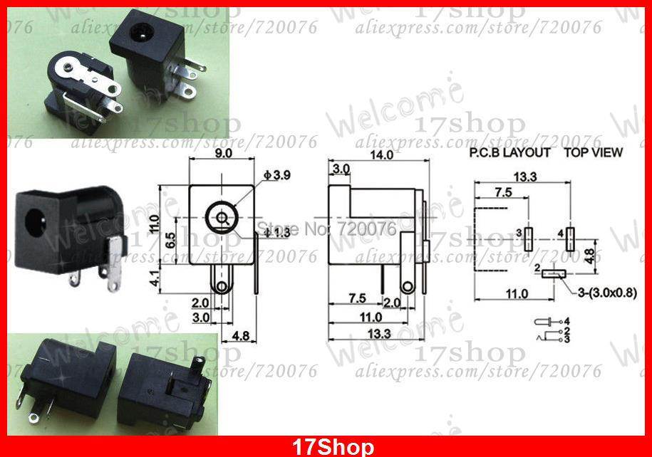 US $6.83 18% OFF|20PCS 3.5mm X 1.35MM DC jack socket for PCB Charger on