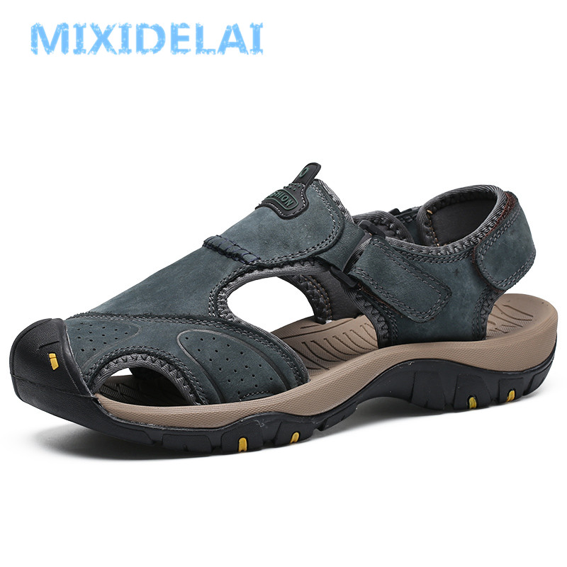 MIXIDELAI New Summer Men's Shoes Outdoor Casual Shoes Sandals Genuine Leather Non-slip Sneakers Men Beach Sandals Big Size 38-46