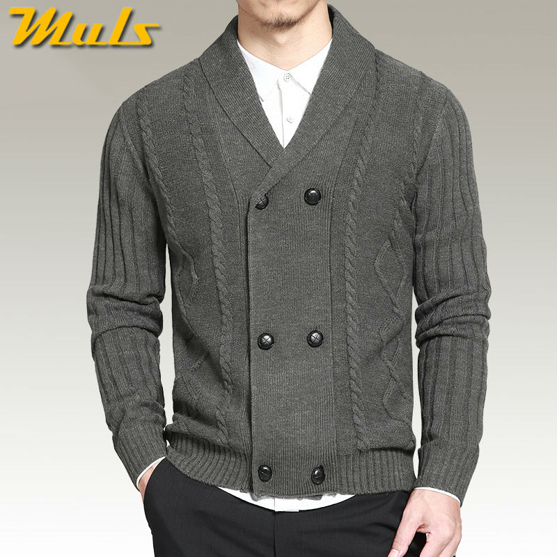 Muls on sale wool cardigan men sweater double breasted knitted ...