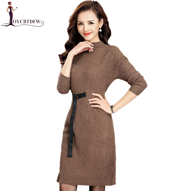 Mode grande taille 2018 femmes automne hiver pull robes Slim col rond moulante pull tricoté robe chandails S-4XL NO296