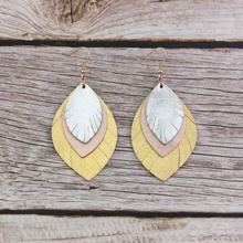 ZWPON Triple Layered Genuine Leather Leaf Earrings for Women Fashion Mixed Colors Feather Jewelry Wholesale