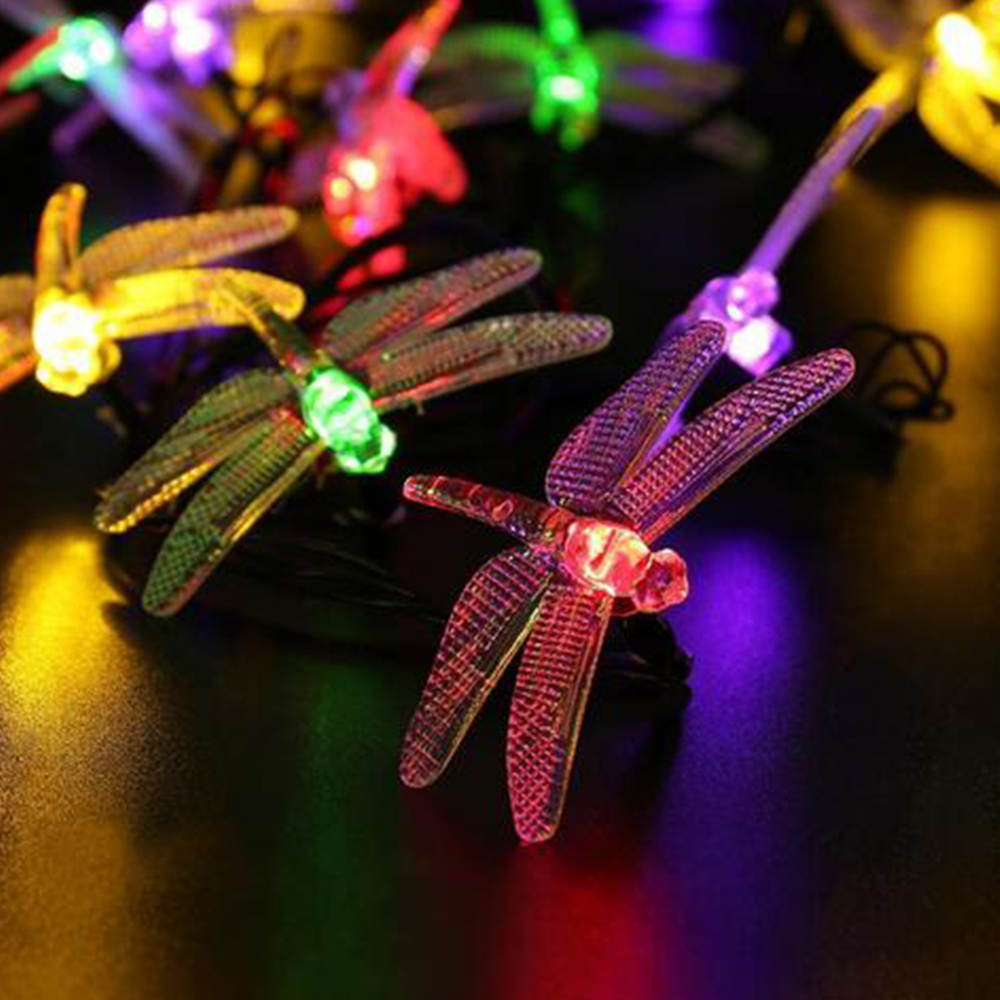 Solar Powered Outdoor String Lights Dragonfly Starry Lighting 2.5m 30 Leds christmas decorations for home Garden Light