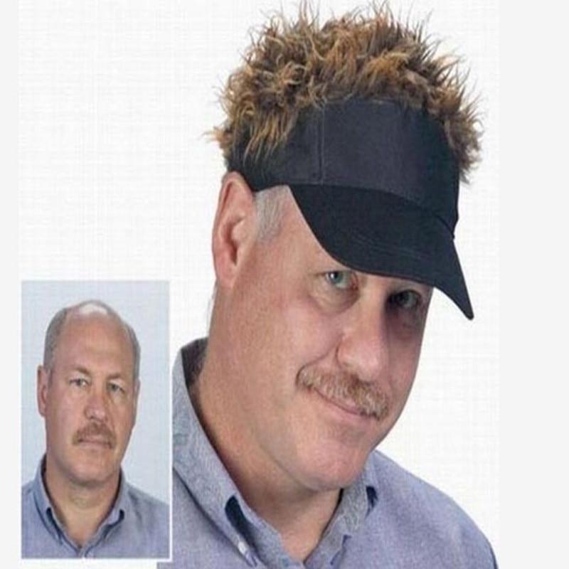 Fashion Novelty Baseball Cap Fake Flair Hair Sun Black Visor Hat Man Women  Toupee Wig Funny Cool Golf Cap d2e1a4c3b30