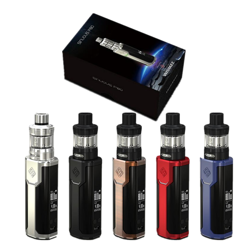 Original Wismec Sinuous P80 with Elabo Mini Kit Sinuous P80 Box MOD 80W with 2ML Atomizer Electronic Cigarette Vape Vaporizer