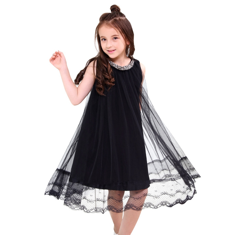 Girls Black Princess Dress Kids Sleeveless Casual Party Dresses 5 8 10 12 14 Years Teen Girls Mesh Lace Overlay Dress Teenagers