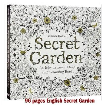 96 Sayfa Ingilizce Gizli Bahçe Boyama Kitapları Yetişkinler Için