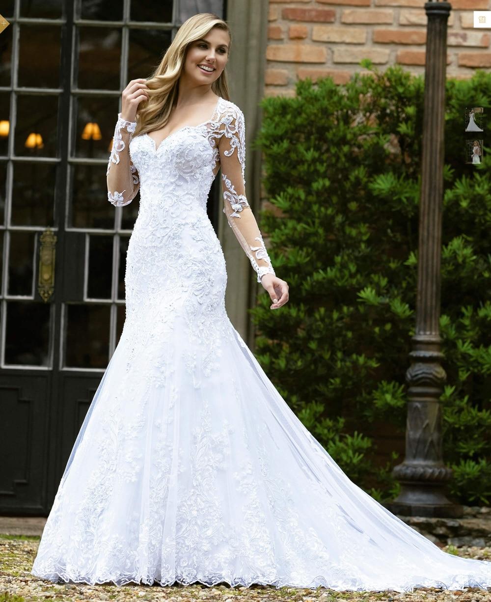 Vestidos De Novia 2019 Mermaid Wedding Dress With Sleeves Bridal Gown Dresses For Bride Custom Made To Order Superbweddingdress