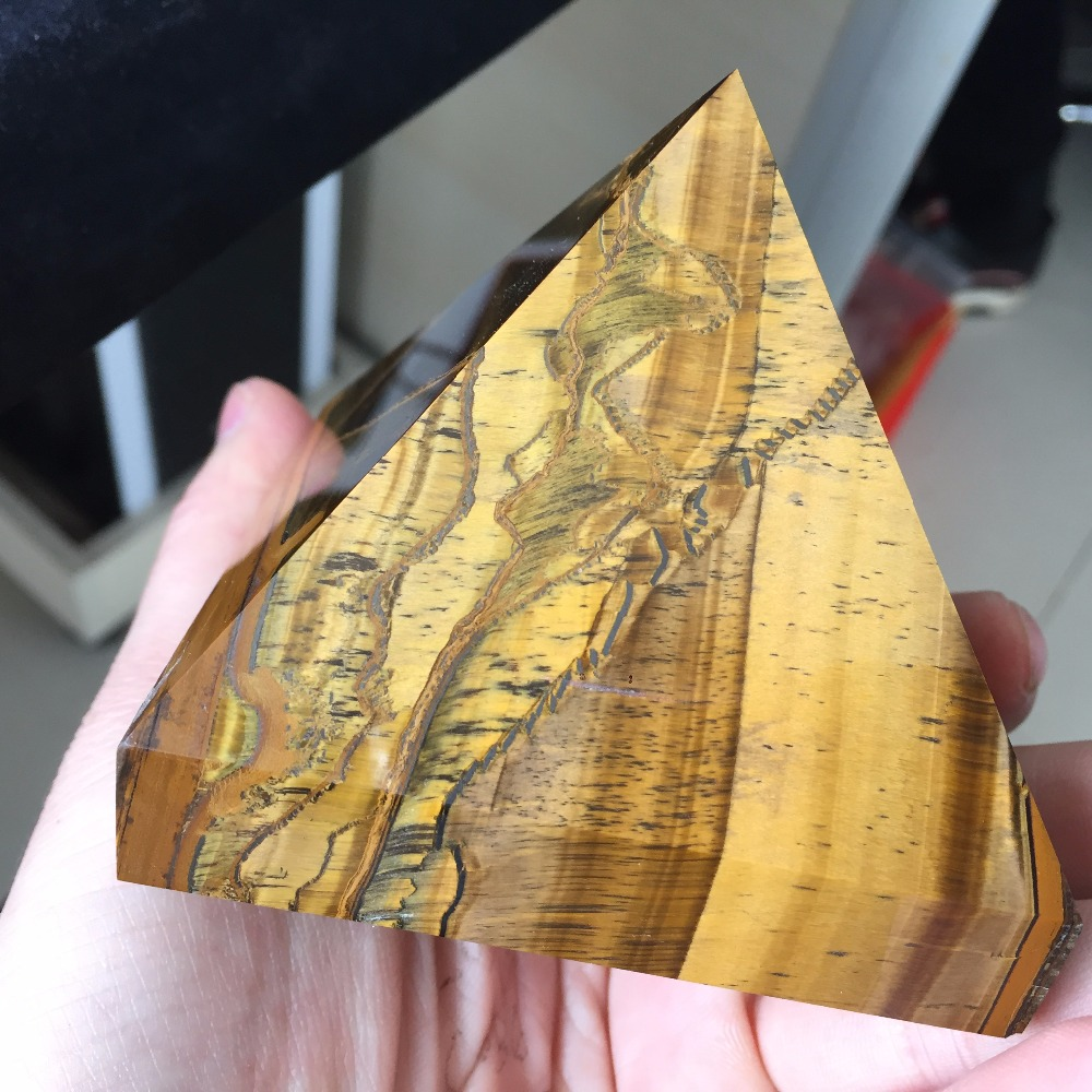 BY8 80 80 70mm AAA Rock Tiger Eye Stone Healing Pyramid 2019 Hot Sale Natural Stones