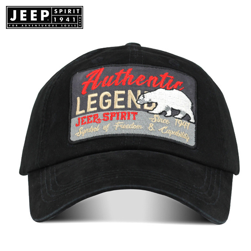 JEEP SPIRIT Outdoor   Caps   Men Women   Baseball     Cap   Sport Bone Snapback Hat Gorras Para Hombre De Marca Polar Bear Patten Embroidery