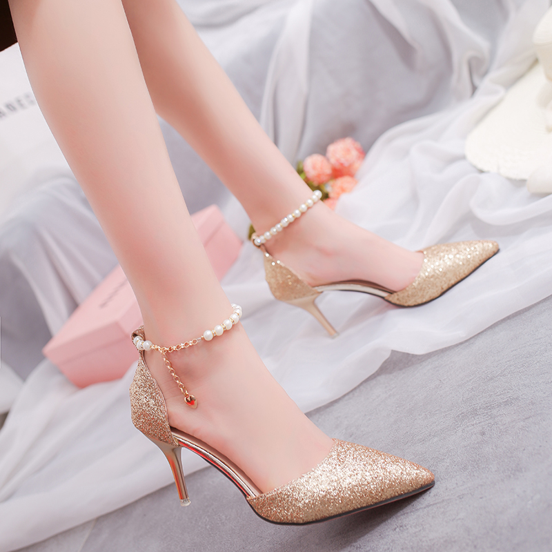Fashion Women's Shoes Summer Sandals Women's Shoes High-heeled Shoes Pearl Decoration Leisure Party Woman Sandals Gold Silver phyanic 2017 gladiator sandals gold silver shoes woman summer platform wedges glitters creepers casual women shoes phy3323