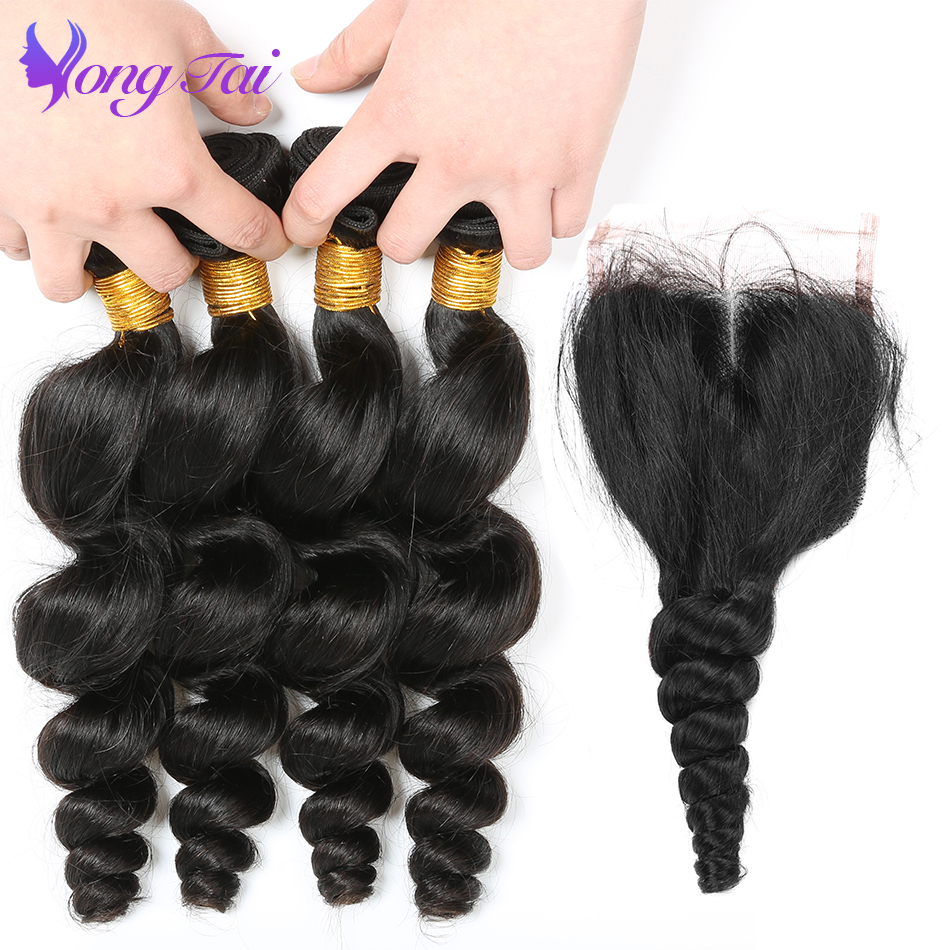 Yongtai Loose Wave Bundles Human Hair 4 Bundles With Lace Closure Natural Black Non Remy Peruvian Hair Weave Bundles No Tangle