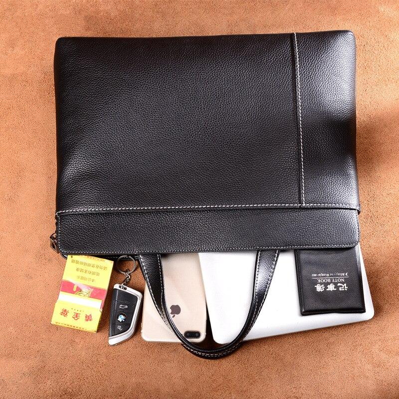Porte En Black réel Hommes Commercial Simple documents casual Peau Serviette Vintage Véritable Sac Cuir Vache D'affaires De Sac Mâle wxvv0YqPU