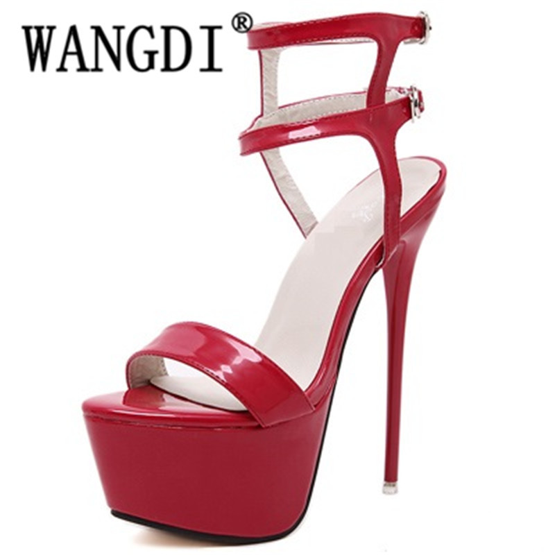 59b3ddce573 Size 34 40 Pu Leather High Heels Sandals 16cm Stripper Shoes Summer Wedding  Party Shoes Women Gladiator Platform Sandals-in High Heels from Shoes on ...