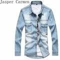 2016 nova vintage da moda dos homens denim camisa de manga comprida light blue jeans camisa top quality hot venda tamanho m-3xl 38z