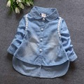 Fashion Spring Baby Baby Infant Girls Lace Kids Denim Jeans Long Sleeve Blouse Outwears Shirts Tops S2728