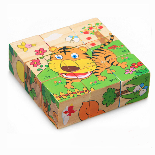 Wooden Animal Puzzle Kids Toys 6 Sides Wisdom Jigsaw Early Education Learning Toys Tangram Children Game 9pcs Single 3D Puzzle