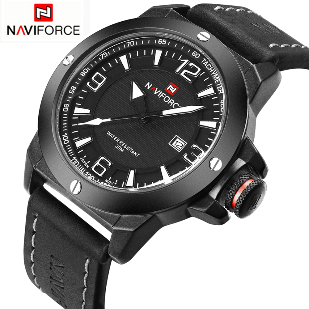 2016 New Fashion NAVIFORCE Brand Men Watches Military Sports Quartz Watch Waterproof Leather Male Wristwatches Relogio Masculino 2018 new fashion casual naviforce brand waterproof quartz watch men military leather sports watches man clock relogio masculino