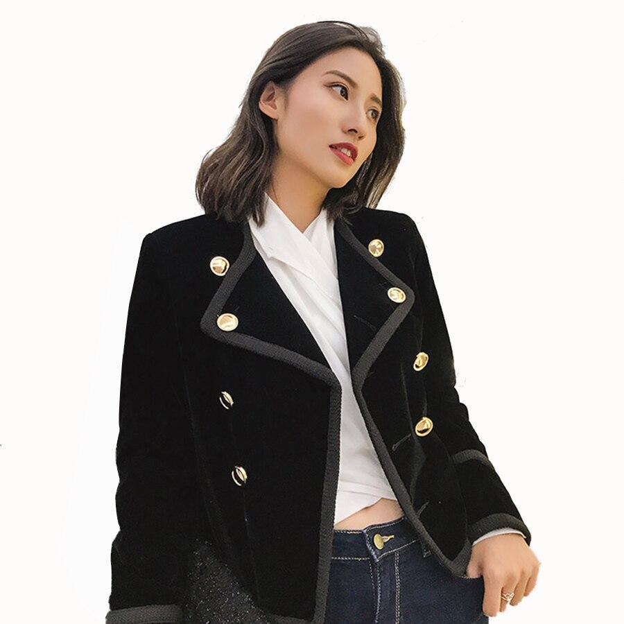 Black Velvet Jacket Blazer Women Plus Size Vintage Double Breasted Coat Woman Blazer Slim Casaco Feminino Ladies Coats X50111