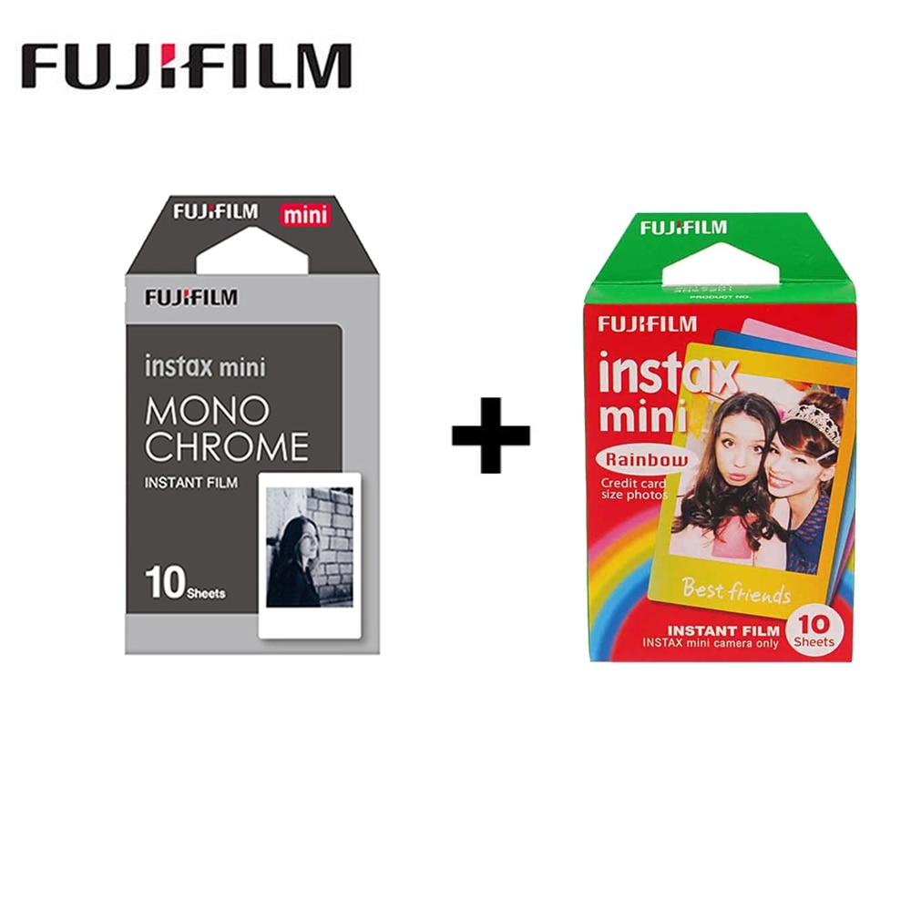 2 packs Mini Fujifilm Instax Film Monochrome + Rainbow For Polaroid Mini 8 7s 7 50s 50i 90 25 dw Share SP-1 Instant mini Camera