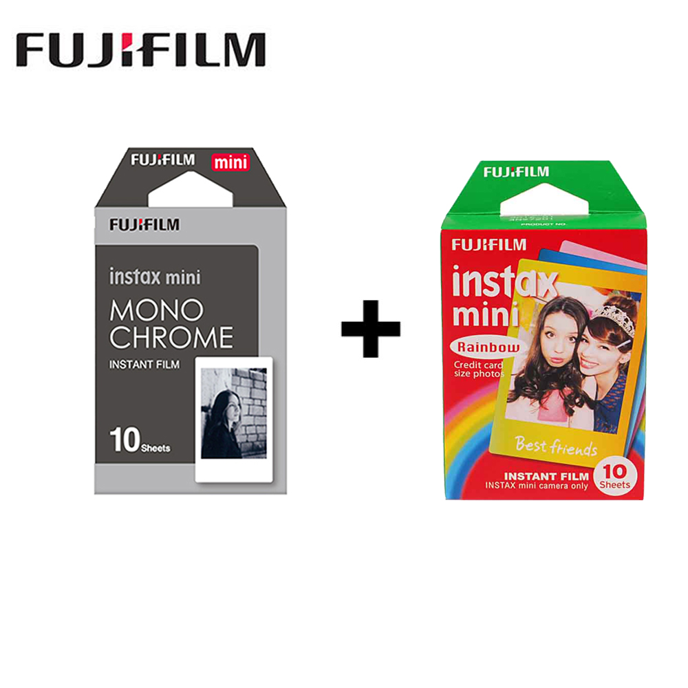 2 packs Mini Fujifilm Instax Film Monochrome + Arc-En-Pour Polaroid Mini 8 7 s 7 50 s 50i 90 25 dw Partager SP-1 Instant mini caméra