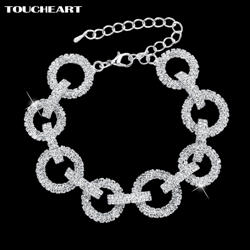 TOUCHEART 2018 Wedding Bracelets & Bangles With Stones Romantic Round Crystal Bracelets For Women Silver color Jewelry SBR140628