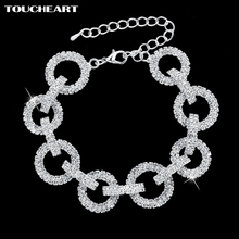 Wedding Bracelets & Bangles Silver Plated Round Chain Luxury Austrian Crystal Bracelet For Women Classic Jewelry SBR140628